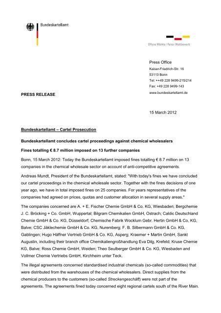 PRESS RELEASE Press Office 15 March 2012 Bundeskartellamt