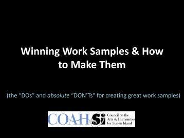Winning Work Samples & How to Make Them - Staten Island Arts