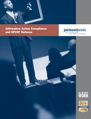 Affirmative Action and OFCCP Planning and ... - Jackson Lewis