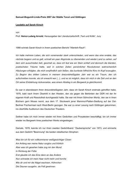 Download Laudatio Auf Sarah Kirsch Samuel Bogumil Linde Preis