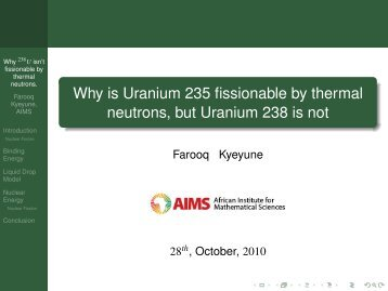 Why is Uranium 235 fissionable by thermal neutrons, but Uranium ...