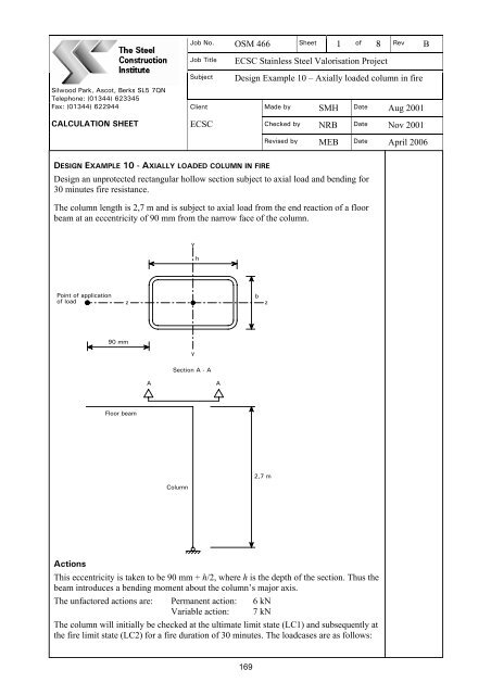 Fire resistance of RHS beam-column - Steel-stainless org