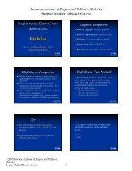 Eligibility - American Academy of Hospice and Palliative Medicine