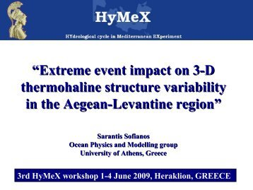 Extreme event impact on 3D Thermohaline structure ... - HyMeX