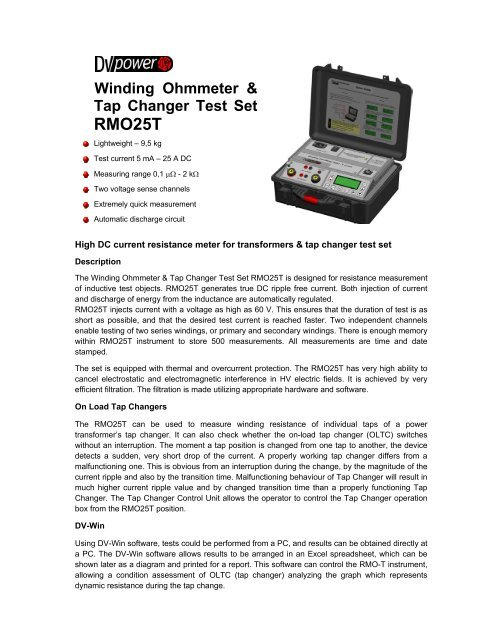 Winding Ohmmeter & Tap Changer Test Set RMO25T - Reptame
