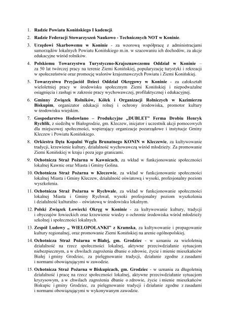 Przyznane tytuły - Osoby prawne / organizacje - Powiat koniński
