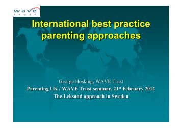 International best practice parenting approaches ... - Pelorous