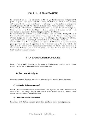 FICHE 1 : LA SOUVERAINETE I - LA SOUVERAINETE ... - Canalblog