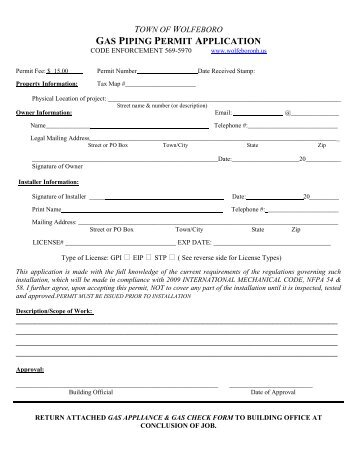 Gas Piping Permit - Town of Wolfeboro