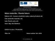 Planeta Saturn - Základní škola Náměstí Nový Bor