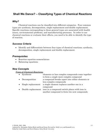 identifying types of chemical reactions worksheet - Termolak