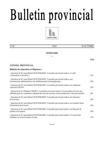 Bulletin n°20 du 28 octobre 2010 - La Province de Hainaut