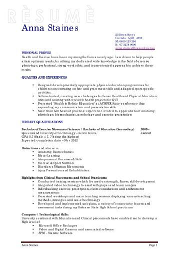 exercise science resume environmental science resume best of - Resume Examples Exercise Science