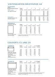 VISITENKARTEN / BRIEFPAPIER A4 COUVERTS C5 UND C4