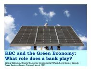 RBC & the Green Economny - What Role Does A Bank Play