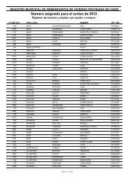 Número asignado para el sorteo de 2012