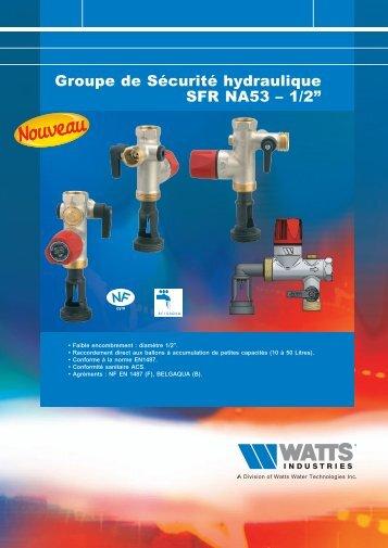 """Groupe de Sécurité hydraulique SFR NA53 – 1/2"""" - Watts Industries"""