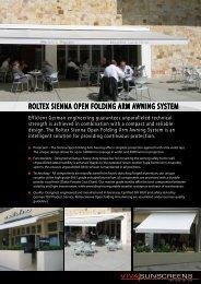 ROLTEX SIENNA OPEN FOLDING ARM ... - Viva Sunscreens