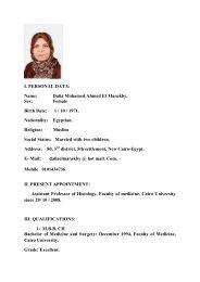 I. PERSONAL DATA: Name: Dalia Mohamed Ahmed El Marakby ...