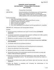 SUPPORT STAFF POSITIONS Job Description: Transportation ...