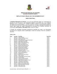 edital nº 016/2011/pml/es - resultado final do concurso ... - Linhares