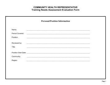 COMMUNITY HEALTH REPRESENTATIVE Training Needs .