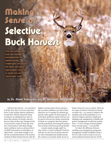 Selective Buck Harvest - Quality Whitetails - Demarais and Strickland 2013