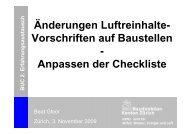 Änderungen Luftreinhalte- Vorschriften auf Baustellen - Kanton Zürich