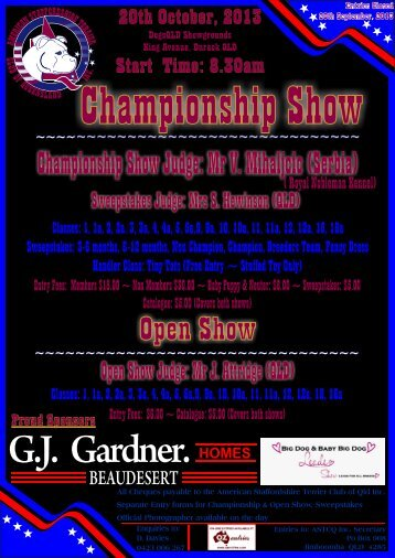 Show Schedule 2013 Black - Dogz Online