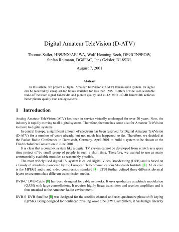 Digital Amateur TeleVision (D-ATV) - Bavarian Packet Radio Group