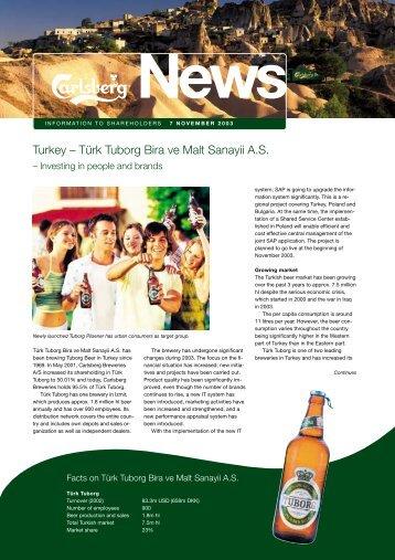 Turkey – Türk Tuborg Bira ve Malt Sanayii A.S. - Carlsberg Group