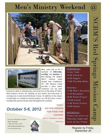 Men's Ministry Weekend @ NCBM'S R ed Springs Mission Camp e d S