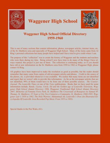Waggener High School Official Directory, 1959-1960