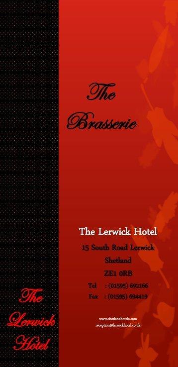 Brasserie menu - Shetland Hotels