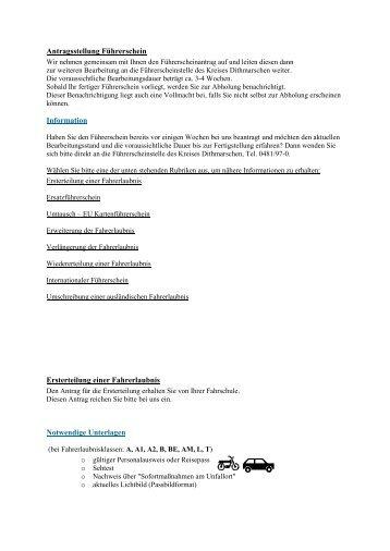 Antragsstellung Führerschein Information Ersterteilung einer ...