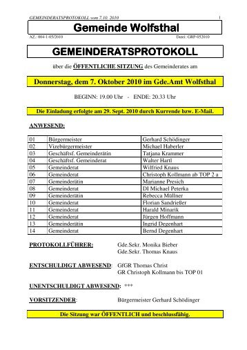 Gemeinderatssitzung 7. Oktober 2010 (223 KB) - .PDF - Wolfsthal
