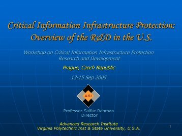 Critical Information Infrastructure Protection - ceage - Virginia Tech