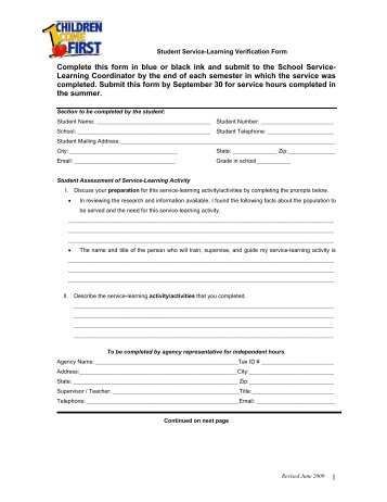 agency confirmation form for cgcc service-learning student