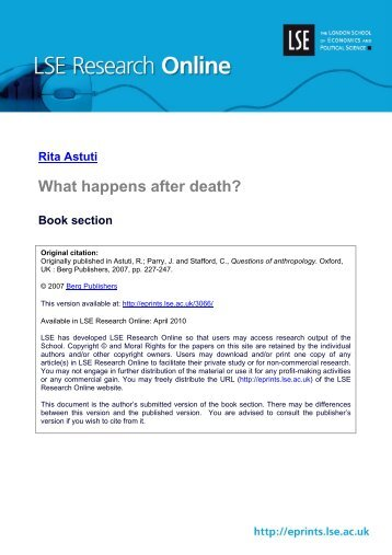 What happens after death? Book section - LSE Research Online