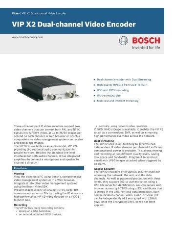 Bosch Vip X2 Manual