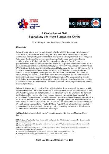 LVS-Gerätetest 2009 Beurteilung der neuen 3-Antennen-Geräte