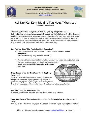 Koj Txoj Cai Kom Muaj Ib Tug Neeg Txhais Lus - LawHelpMN.org