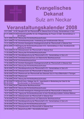 Evangelisches Dekanat Sulz am Neckar Veranstaltungskalender 2008