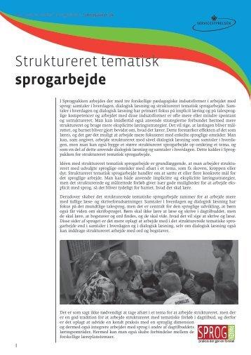 Struktureret tematisk sprogarbejde - SPROGPAKKEN:DK