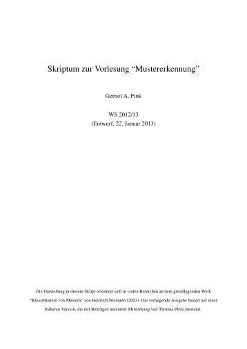 """Skriptum zur Vorlesung """"Mustererkennung"""" - Gernot A. Fink"""