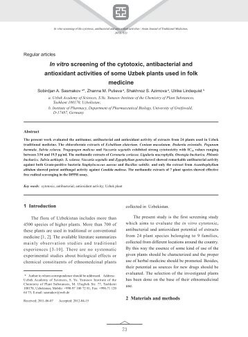 In vitro screening of the cytotoxic, antibacterial and antioxidant ...
