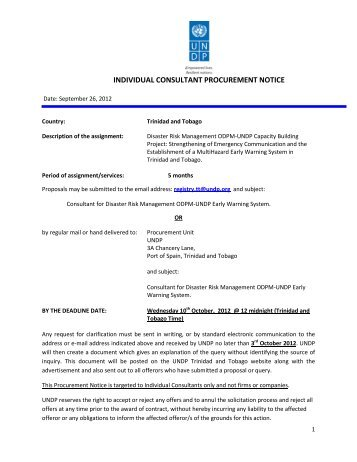 individual consultant procurement notice - UNDP Trinidad and Tobago