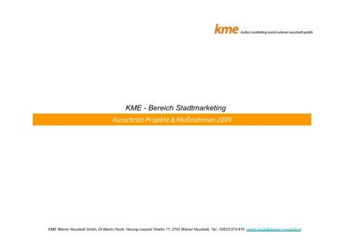 Ausschnitt Projekte & Maßnahmen 2009 KME - Bereich ...