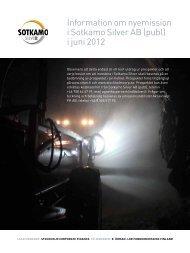 Information om nyemission i Sotkamo Silver AB (publ) i juni 2012