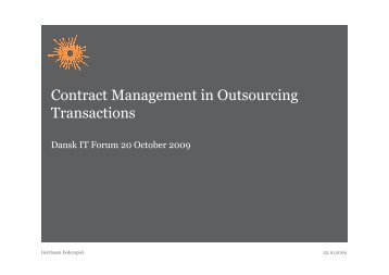 Contract Management in Outsourcing Transactions